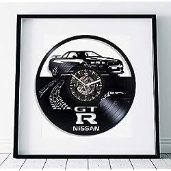 Kovides Nissan GT-R Room Art Wall Clock Modern Handmade Gift for Boys Nissan GT-R Gift Lp Retro Vinyl Record Wall Clock Large Cars Art Birthday Gift Idea for Man Nissan GT-R Clock Wall Clock Vintage