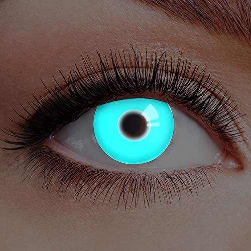 Farbige Kontaktlinsen Blau Ohne Stärke Blaue Motiv-Linsen Farbig Jahreslinsen Halloween Karneval Fasching Cosplay Crazy Kostüm UV Neon Deep Ice Blue