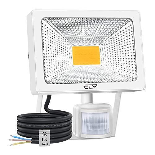 Faretto a LED per esterni Luce calda 3000K, 50W Faretti a LED Sensore di movimento esterno impermeabile, 4500LM CLY LED IP66, Lampade di sicurezza a led per giardini, Garage, Balcone, Patio,Eaves.