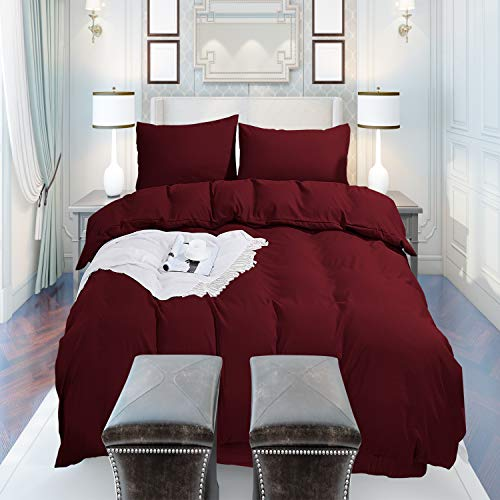 Trimming Shop Plain Burgundy Duvet Cover Set Double Size with Zipper Closure 200x200cm with 2 Pillow covers Ultra Soft Hypoallergenic Microfiber Quilt Cover Sets