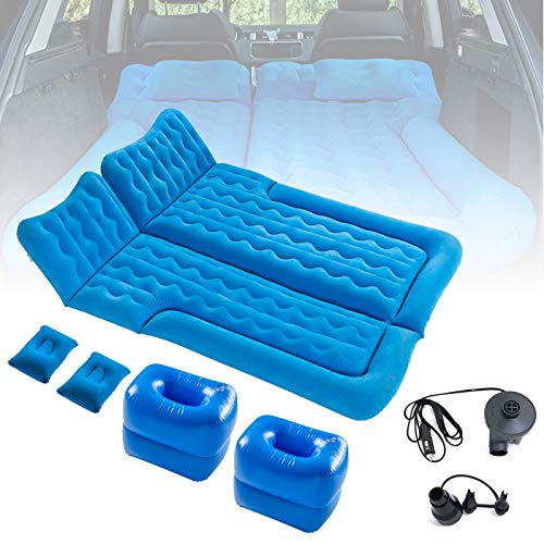 HIMNA PETTR Car Bed Air Mattress, SUV RV Sleeping Pad for Kid Adult, Camping Travel Bed for Truck Back Seat Tent with Pump,Inflatable Mattress for Truck,Minivan/Compact Twin Size,Blue