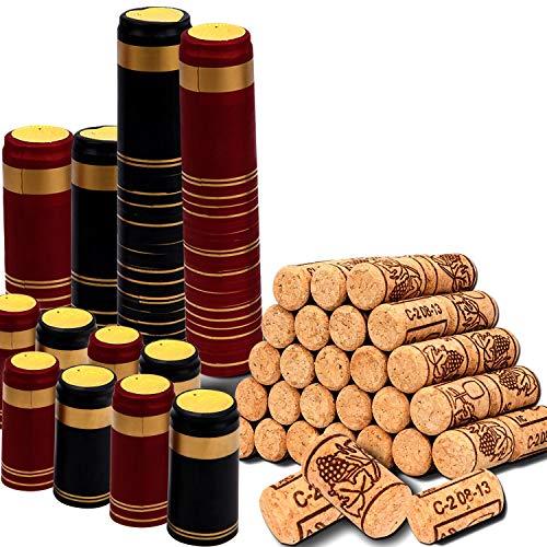 Karderon - Lote de 200 tapones de botella de vino y cápsulas termocontraíbles, 100 tapones de vino naturales y 100 sellos de 2 colores para botellas de vino