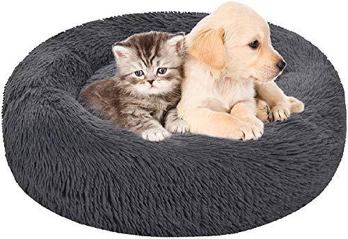 ITODA Haustierbett Donut Hundebett Haustier Bett Flauschig Katzenbett Warm Hundekissen Welpenbett Weich Baumwollbett Hunde Welpen Tierbett Katze Katzenkissen Waschbar Hundedecke Hundeschlafplatz L