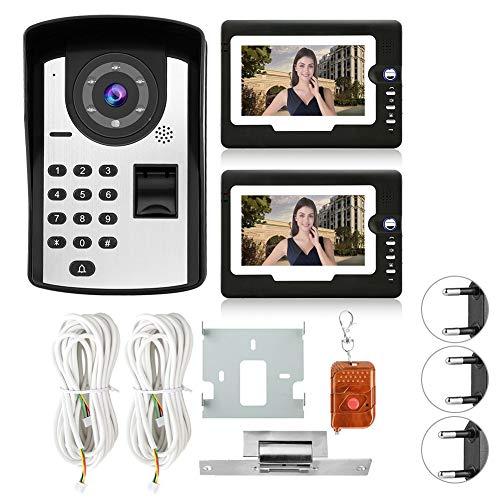 EFFACER Sistema de Video Portero con Cable, 7 Pulgadas Cableado de Huellas...