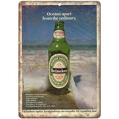 VEHFA Heineken Brewed in Holland Vintage Print Ad x Reproduction Metal Sign E