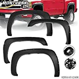 G-PLUS Smooth Black Pocket Bolt-Riveted Style Fender Flares Compatible for Chevy Silverado Sierra 1500/2500/3500HD 1999-2007 Bolt On Wheel Cover Protector Vent Trim