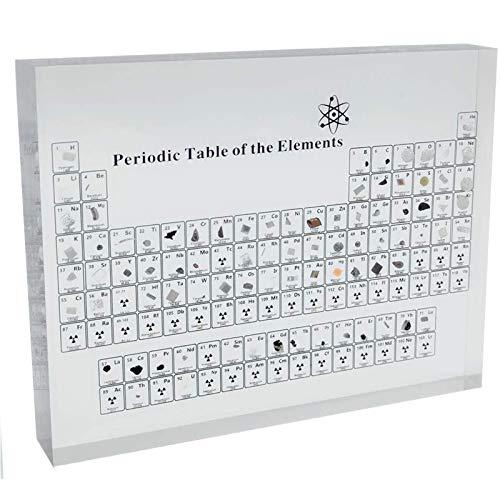 XDJ Elementos Reales Tabla Periódica, Acrílico Tabla Periódica con Elementos Reales Muestras, Científico Niños Enseñando Navidad Regalos, Químico Elemento Mostrar 150x114x20mm