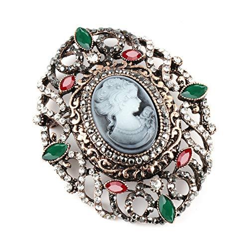 CLEARNICE Broche De Camafeo Ovalado De Flor De Cristal Hueco para Mujer, Broche Vintage De Fiesta De Oro Antiguo, Joyería