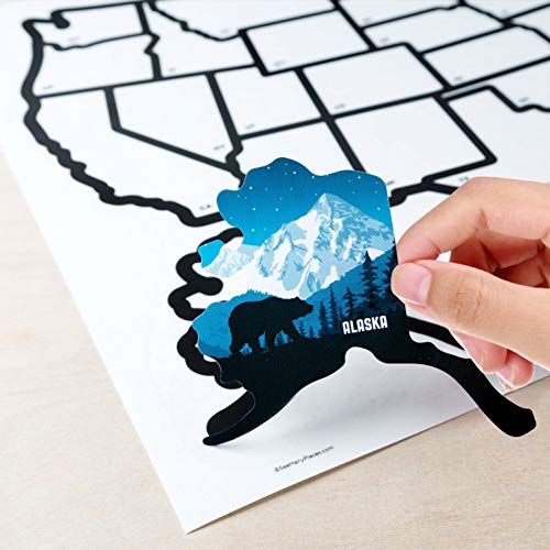 """Product Image 2: SEE MANY PLACES .com RV State Stickers United States Travel Camper Map RV Decals for Window, Door, or Wall ~ Includes 50 State Decal Stickers with Scenic Illustrations (21"""" x 14.5""""/Large) See Many Pla"""