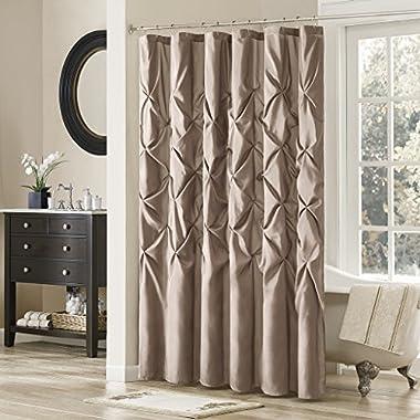 Madison Park MP70-2133 Laurel Satin Shower Curtain, 108 x 72 , Mushroom