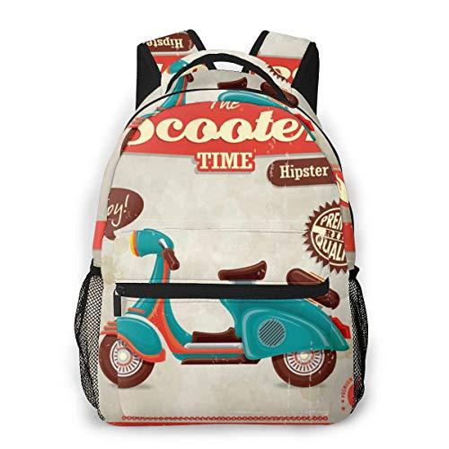 Lawenp Mochila Informal Multifuncional, Mochila de Tendencia de Moda, Mochila Linda 11.5 X 16 '' 'X 8' '' Motocicleta Retro Vintage Scooter Hipster Cycle Travel Adolescente Moto