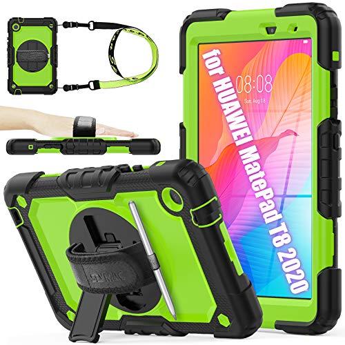 SeyMAC - Carcasa para tablet Huawei MatePad T8 de 8,0 pulgadas, resistente a los golpes, con protector de pantalla y soporte giratorio 360/correa de mano para Huawei MatePad T8 2020 (verde)