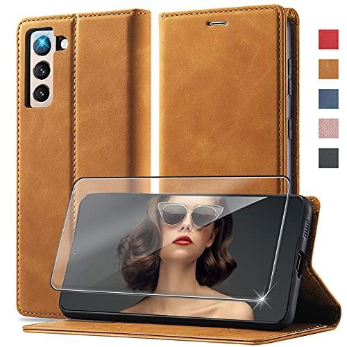 Handyhülle für Samsung Galaxy S21 Hülle Leder, Premium Leder Brieftasche Schutzhülle Klapphülle, 360 Grad Stoßfest Leder Hülle, für Samsung Galaxy S21 5G Hülle Wallet Anti-Kratzen S21 5G Hülle Holster