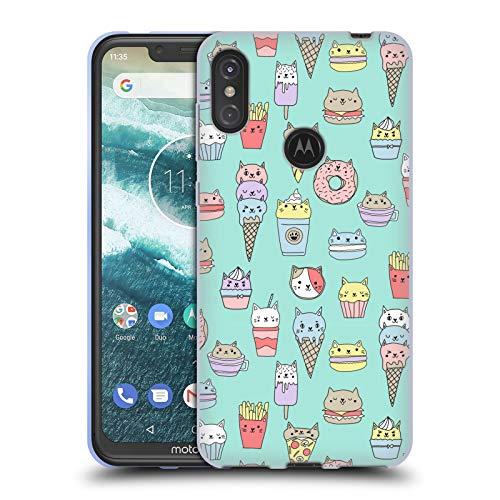 Officiële Andrea Lauren Design Kattenvoer Voedsel Patroon Soft Gel Case Compatibel voor Motorola One Power (P30 Note)