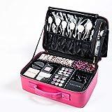 [Gifts for women] ROWNYEON PU Leather Makeup Bag Professional Makeup Organizers Bag Portable Travel Makeup Case EVA Makeup Train Case Best Gift for Girl (Pink Medium)