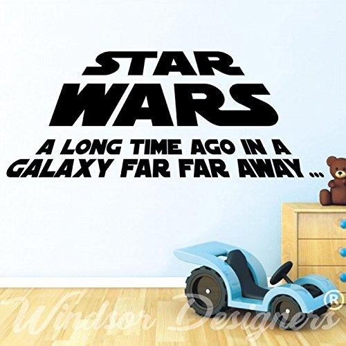 Sticker mural en vinyle Star Wars avec citation A long time ago Noir Taille L 120 x 60 cm