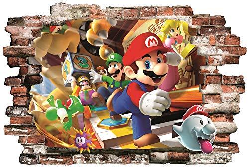 BOARA Wandaufkleber, Wandbilder Mario, Wandtattoo1 Blatt Super Mario Pattern 780mmX 560mm