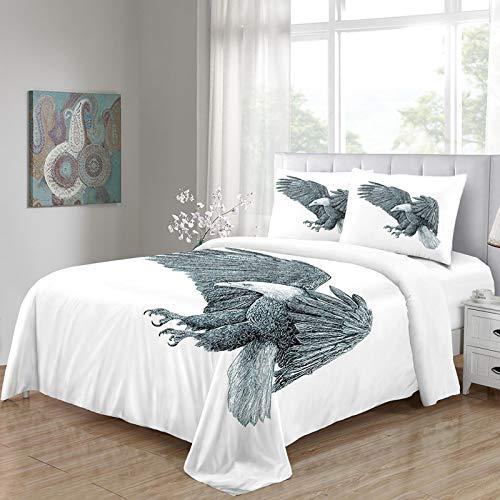 HKDGHTHJ Juego de Funda nórdica 3D de 4 Piezas Patrón Animal águila 220 x 230 CM Juego de Ropa de Cama de Estilo Simple, Funda de edredón Suave, sábana, Fundas de Almohada, Ropa de Cama para niños y