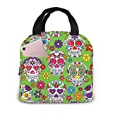 Portable Lunch Tote Bag Cute Green Colorful Sugar Skull Lunch Bag Insulated Cooler Thermal Reusable Bag Lunch Box Handbag Bags for Women/Picnic/Boating/Beach/Fishing/Work