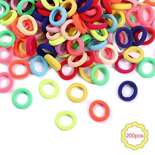 Gomas de Pelo Coloridas para Niñas 200 Piezas Mini Bandas de Goma Elásticas para el Cabello para Bebés Coleteros
