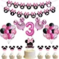 49 Pcs Minnie Party decorations Supplies For 3rd Baby Girl Minnie Theme Birthday Party decorations Supplies for 3 year old Kids (3rd) from QXTTS