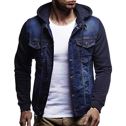 Beautyfine Mens' Denim Jacket Tops Autumn Winter Hooded Vintage Distressed Coat Outwear