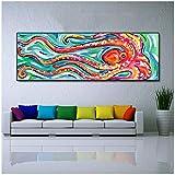 Pintura en lienzo Arte de la pared Pintura al óleo animal Pulpo de colores Cuadro en lienzo para la sala de estar Amistad Decoración para el hogar 50x150cm (20x59 in)