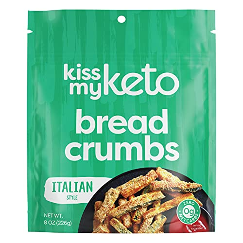 Kiss My Keto Bread Crumbs Italian Seasoned - Zero Carb Breadcrumbs (0g-Net) | Low Sodium, Low Carb Breadcrumbs Italian | Sugar Free, 6g Protein / Serving, Soy Free, Non-GMO, Vegetarian & Keto Friendly
