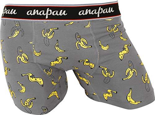 (アナパウ) anapau ボクサーパンツ メンズ バナナマン 男性 下着 無地 ロゴ 彼氏 父 プレゼント ギフト 大きいサイズ 国産 国内生産 おしゃれ カワイイ S:チャコール