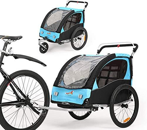 Fiximaster 360° Drehbar Kinder Fahrradanhänger Transportwagen Kinderwagen Zweisitzer Baby Kinder mit Griffbremse und Radschutz BT502 Blau