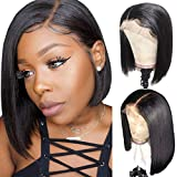 AlipearlHair Short Bob Lace Front Human Hair Wig Brazilian Straight Bob Wigs Pre Plucked Hairline Natural Color Wigs For Black Women Ali Pearl Hair Wigs (10' Bob)