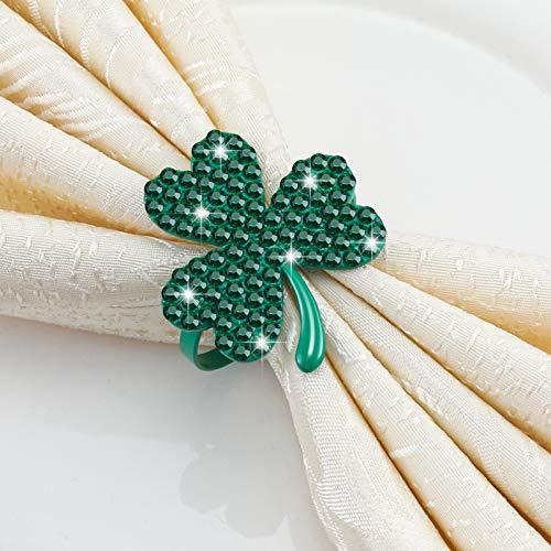 Clover Shamrock Napkin Ring St. Patrick's Day Napkin Rings Holder Buckle Napkin Holders Ring Metal Rhinestone Napkin Ring for St. Patrick's Day Wedding Party Table Decor (Green, 12)