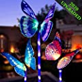 OKBONN Solar Garden Lights Outdoor - 3 Pack Solar Stake Light Multi-Color Changing LED Garden Lights, Fiber Optic Butterfly Decorative Lights, Solar Powered Yard Art with a Purple LED Light Stake