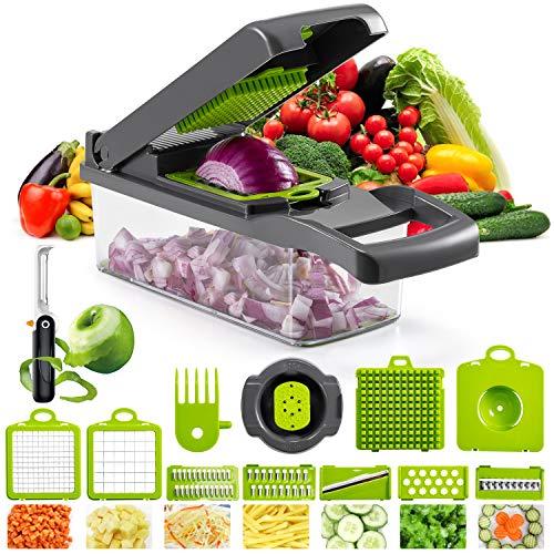 JXJFOZ Gemüseschneider mit Gemüseschäler, Zwiebel Zerkleiner Kartoffelschneider mit Messereinsätzen zum Würfeln Scheiben Reiben Hobeln Raspeln 14 Teile