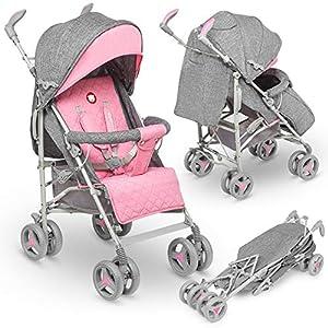 Lionelo - Carrito de viaje plegable y reclinable (tamaño pequeño, 7 kg), color rosa, LO-IRMA PINK, Irma Buggy