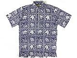 レインスプーナー(Reyn Spooner) 半袖 アロハシャツ プルオーバー ラハイナセイラー ハワイ製 ネイビー S