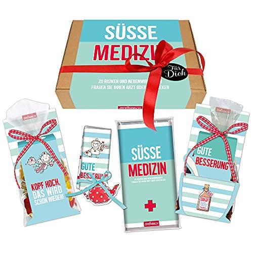 STEINBECK Gute Besserung Geschenk Geschenkset Schokolade Fruchtgummi Tee Gesundheit Mitgebsel Genesungswünsche