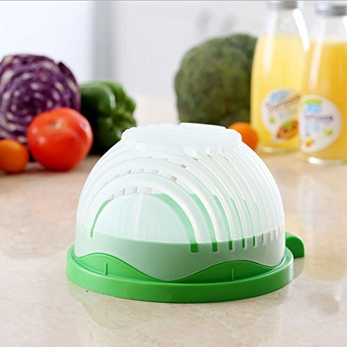 Salad Cutter Bowl - All In One Quick Chop Salad Bowl Large | 60 Second Salad Chopper, Slicer & Bowl Maker | Chopped Salads Container Servers & Salad Cutting Board For Fresh Vegetables, Fruits, Lettuce
