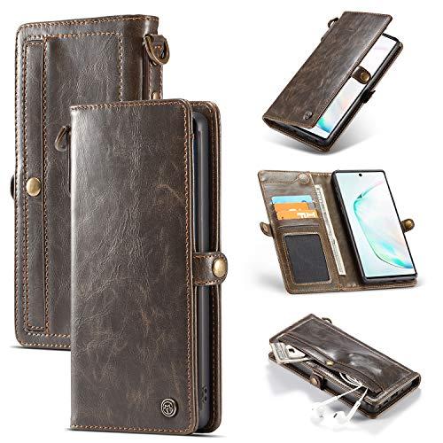 Caseme Galaxy Note10 Plus - Funda de piel tipo cartera con 3 ranuras para tarjetas y cierre magnético, funda protectora extraíble para Samsung Galaxy Note 10 Plus (bronce)