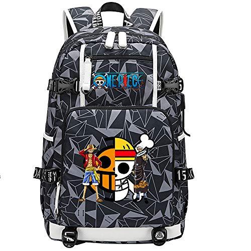 ZZGOO-LL One Piece Monkey·D·Luffy/Trafalgar Law Mochila Mochila Casual Impermeable Viaje de Negocios con USB Unisex-F