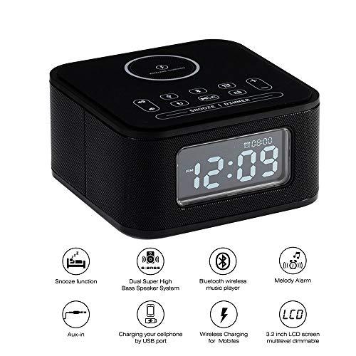 HCCX Draadloze Opladen Alarm Klok Radio Bluetooth Luidspreker voor Slaapkamers Draadloze Oplader voor Iphone X Snooze 4 Dimmer HandsFree