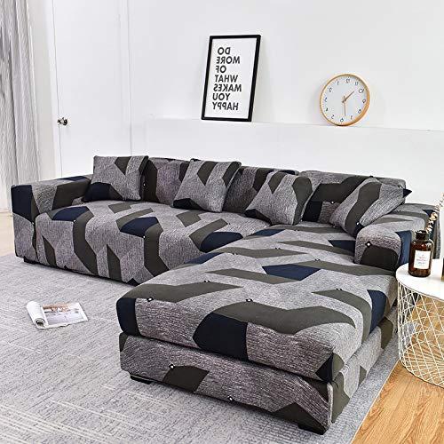 Funda de sofá Funda de sofá elástica Funda de sofá para Sala de Estar Funda de sofá de Esquina en Forma de L Chaise Longue A14 4 plazas