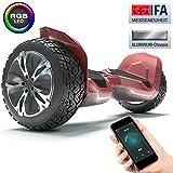 Bluewheel 8.5' Hoverboard patín eléctrico HX510 con UL2272 estándar de Seguridad, Cambia de Color con la App, Altavoz Bluetooth, Motor 700W, Patinete eléctrico con Cobertura de Aluminio (Rojo_)