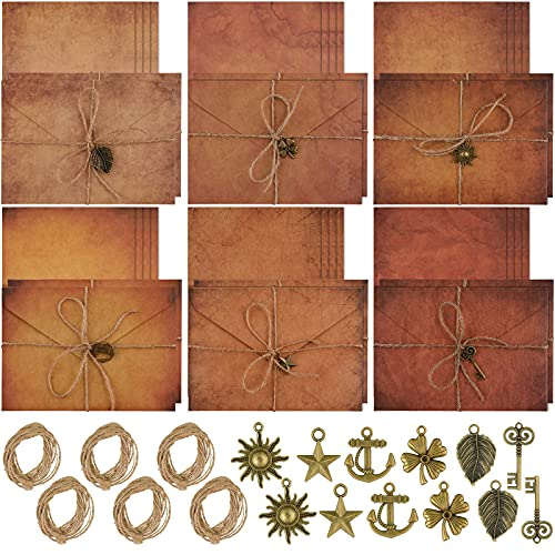 60 Pieces Vintage Stationary Paper and Envelopes Set, Writing Stationery Paper Letter and Envelopes Includes 24 Sheets Antique Letter Papers, 12 Kraft Envelopes, 12 Retro Accessories, 12 Hemp Rope
