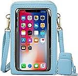 Bolso bandolera para mujer con pantalla táctil y monedero pequeño, piel sintética de poliuretano, mini tarjeta, monedero, azul claro (Azul) - UMBRANDED-HGC2HA