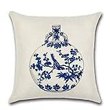 kokuya - Funda de cojín de Lino y algodón, diseño de Porcelana, Color Azul y Blanco
