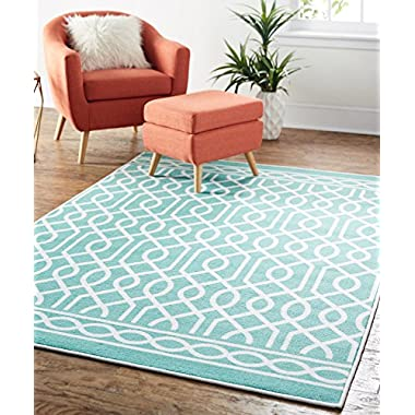 Mohawk Home Soho Twisted Rope Geometric Printed Area Rug, 7'6 x 10', Aqua Blue