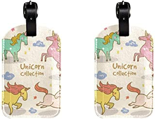 Unicorn ColourfulLeather Luggage Tags Suitcase Labels Bag Travel ID Bag Tag, 1 Pcs