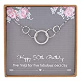 NOURISHLOV 50th Birthday Gifts for Her,Sterling Silver 5 Circle CZ Necklace for Her Five Decade Jewelry,50 Years Old Birthday Gift Ideas