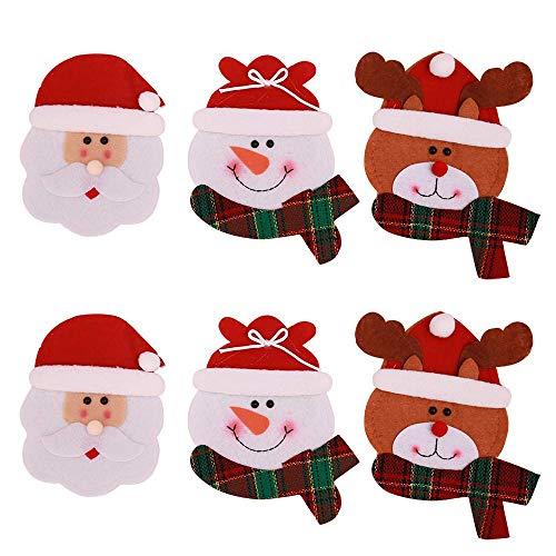 Tenrany Home Natale Cucina Posate, 8 PCS Natale Coltello Forchetta Cucchiaio Borsa da Cucina Cute Pupazzo di Neve Argenteria Posate da Tavola Titolari Tasche per Decorazioni da Tavola (Snowman)